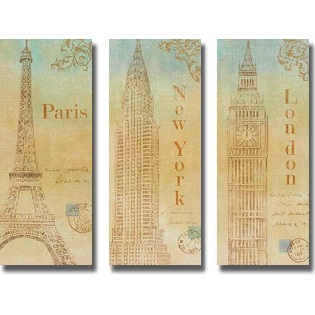 John Zaccheo 'Travel Monuments' 3-piece Canvas Art Set