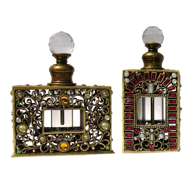Hand-jeweled Austrian Cristiani Crystal Victorian Style Perfume Bottle