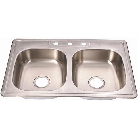 Fine Fixtures Topmount Stainless Steel Equal Double Bowl Sink