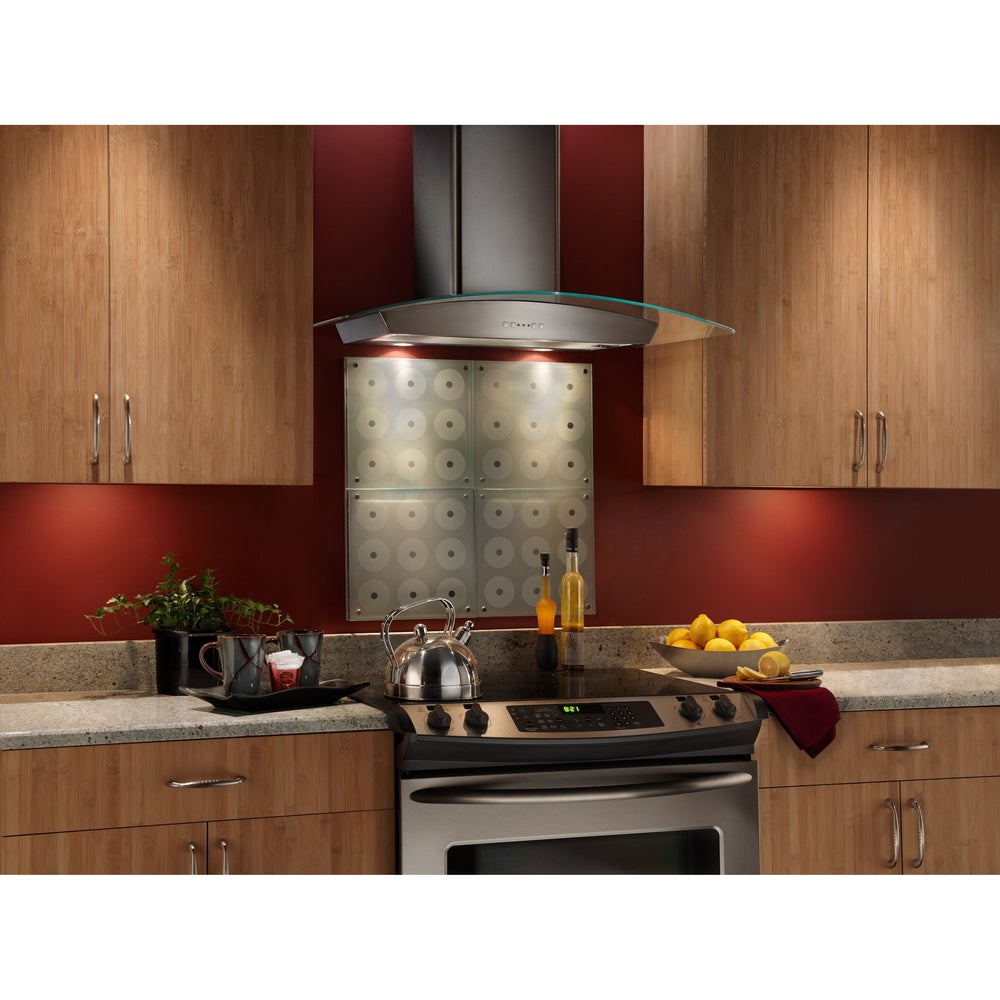 """Broan  36-inch Stainless Steel and Glass Chimney Wall Hood (36""""  Stainless and Glass Chimney Wall Hood)"""