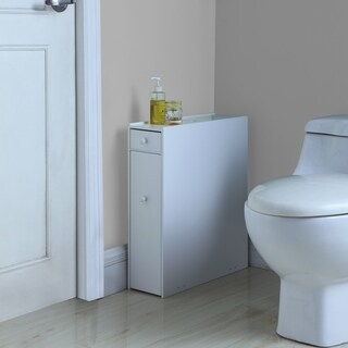 White Wood Bathroom Floor Cabinet