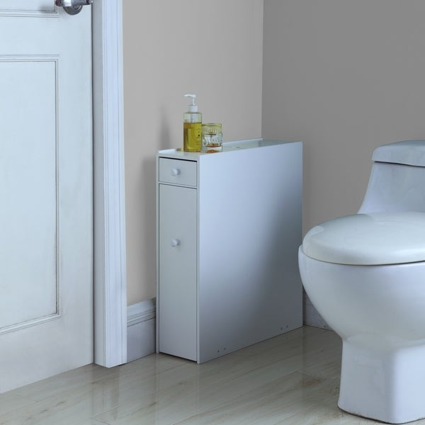 White Wood Bathroom Floor Cabinet
