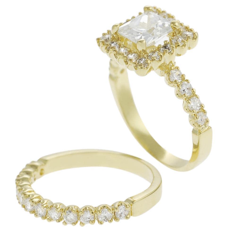 Journee Collection Goldtone Pave-set Princess-cut CZ Bridal-style Ring Set