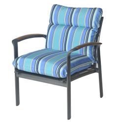 Satra Outdoor Club Chair Cushion In Multi Stripe Blue And Black Sunbrella  Fabric