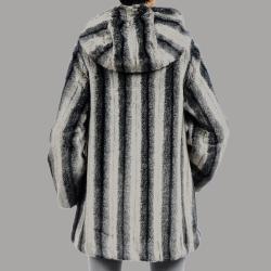 Nuage Womens Belize Faux Fur Hooded Short Coat