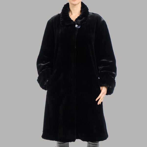 Women's Beaver Faux Fur Oversize Short Coat