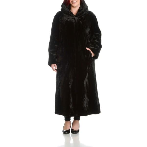 Women's Plus Size Beaver Faux Fur Coat