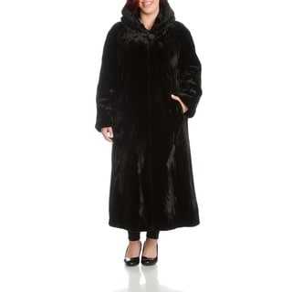 Women's Plus Size Beaver Faux Fur Coat
