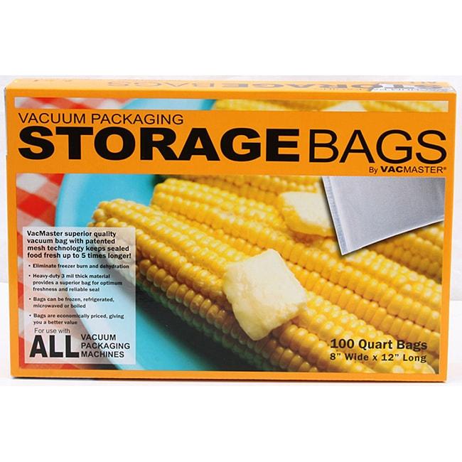 "Vacmaster quart storage bag 100 count box (8""x12"")"