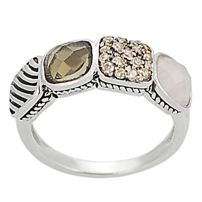 Journee Collection Silvertone Pave-set Cushion-cut CZ Ring