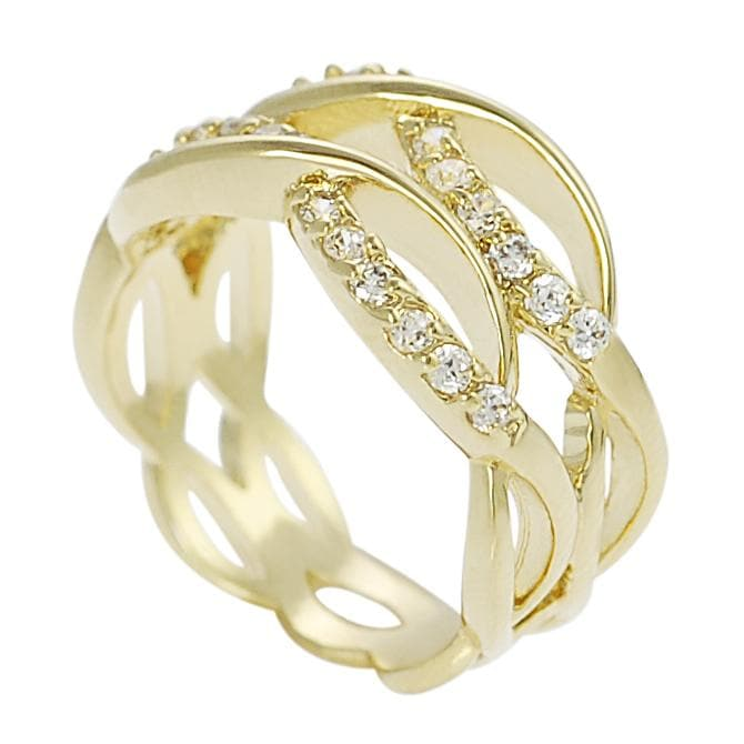 Journee Collection Goldtone Pave-set Cubic Zirconia Wavy Ring