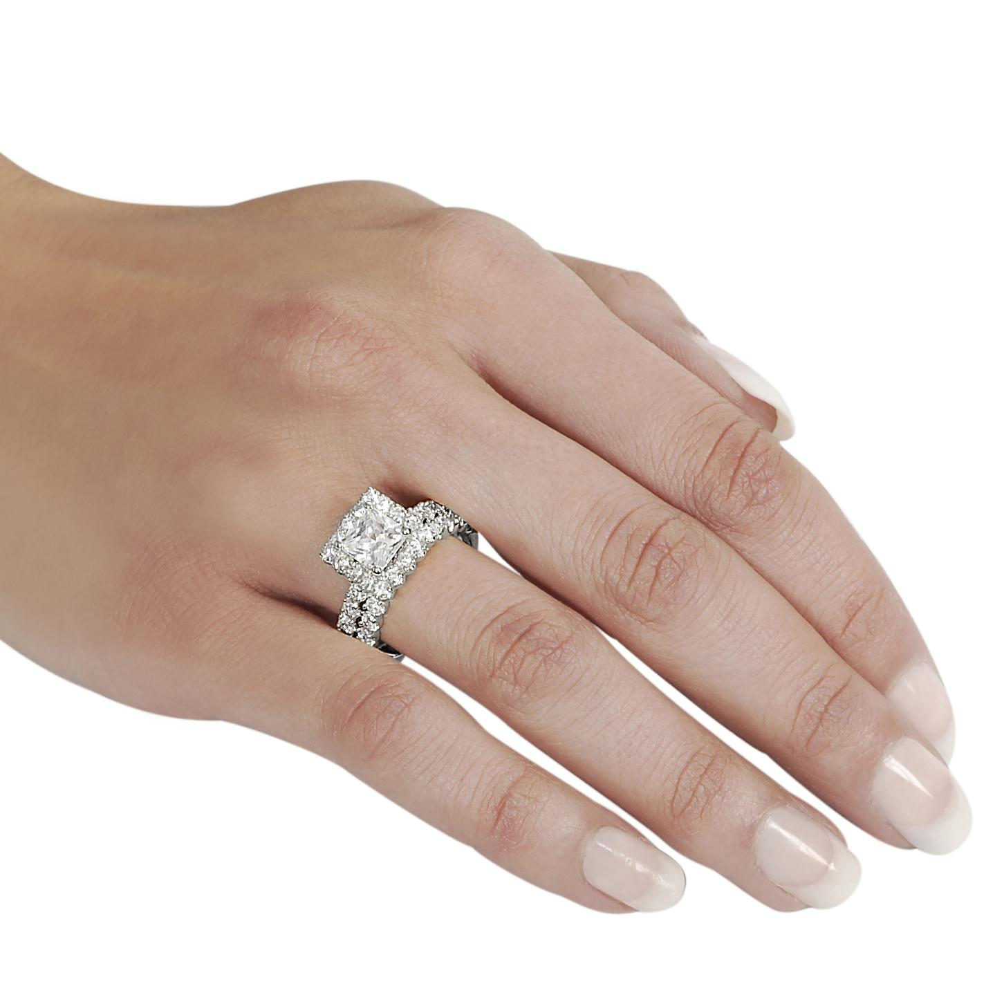 Journee Collection Silvertone Pave-set Princess-cut Cubic Zirconia Bridal-style Ring Set - Thumbnail 2