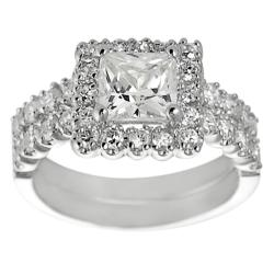 Journee Collection Silvertone Pave-set Princess-cut Cubic Zirconia Bridal-style Ring Set