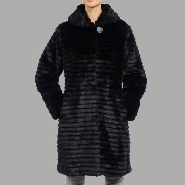 Women's 'Plsa' Black Faux Fur Short Coat