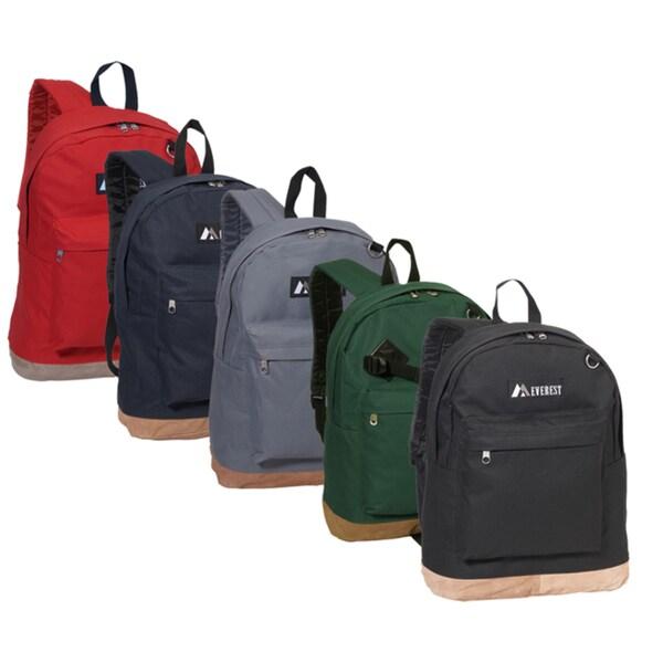 Everest 17-inch Vintage Two-tone Suede Bottom Lightweight Backpack - Black/Green/Red