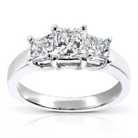 Annello by Kobelli 14k White Gold 1 5/8ct TDW IGI Certified Radiant-cut Diamond 3 Stone Engagement Ring