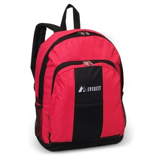 Everest 17-inch Two-tone 600 Denier Polyester Fabric Backpack (Option: Hot Pink/Black)