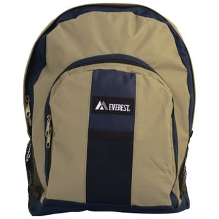 Everest 17-inch Two-tone 600 Denier Polyester Fabric Backpack (Option: Navy/Khaki)