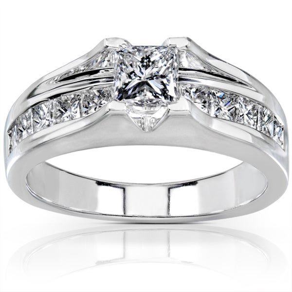 Annello by Kobelli 14k White Gold 1 1/2ct TDW Certified Diamond Engagement Ring (G-H, SI2)