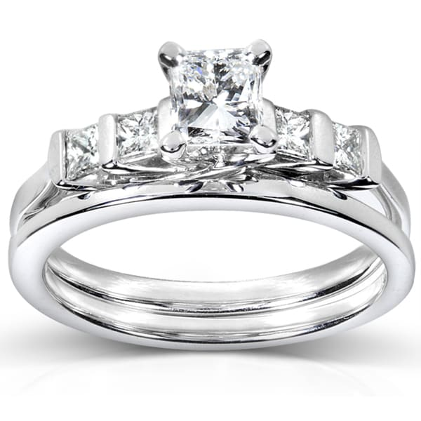 Annello by Kobelli 14k White Gold 1ct TDW Certifed Diamond Bridal Ring Set (D-E, SI1-SI2)