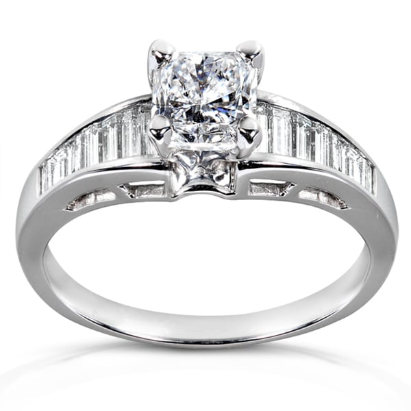 Annello by Kobelli 14k White Gold 1 3/8ct TDW Certified Diamond Engagement Ring (D-E, SI2