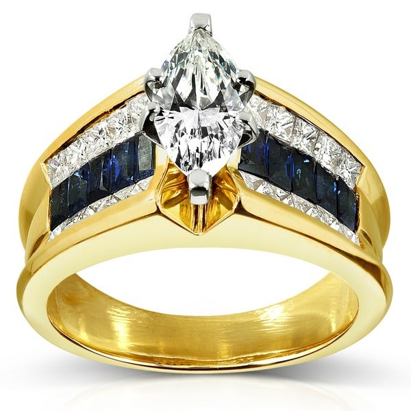 Annello by Kobelli 18k Gold 1 3/4ct TDW Diamond and Blue Sapphire Ring (I-J, SI1-SI2)
