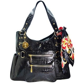 Vecceli Italy Crocodile Embossed Black Shoulder Bag