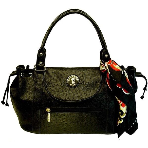 Vecceli Italy Ostrich Embossed Black Handbag Designed by Ronella Lucci