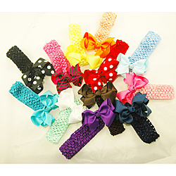 Three-in-one Hair Bows (Pack of 12) - Thumbnail 0
