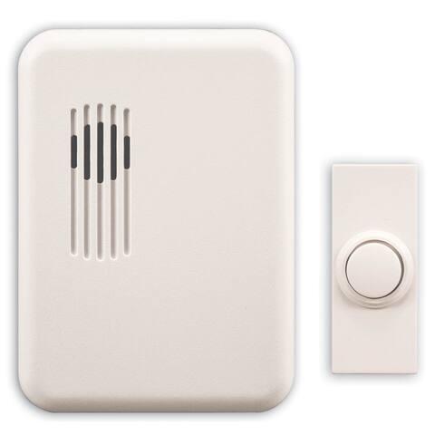 Heathco SL-6151-C White Wireless Rectangular Doorbell Chime Kit
