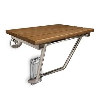 "DreamLine Folding Shower Seat, Natural Teak Wood - Brown/Cherry - 12.88"" x 15"""