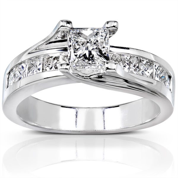 Annello by Kobelli 18k White Gold 1 1/2ct TDW Certified Diamond Engagement Ring (H-I, SI2