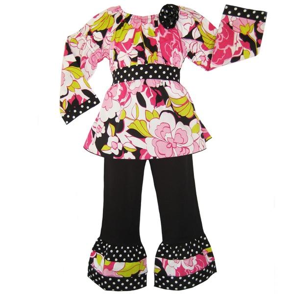 Ann Loren Girl's Floral Peasant Top and Pant Set