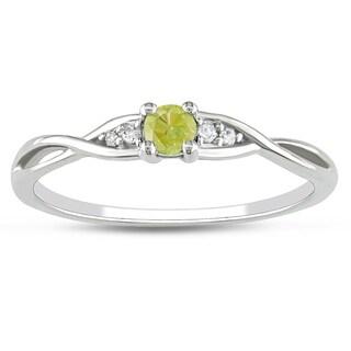 Miadora 10k White Gold 1/6ct TDW Yellow Diamond Promise Ring