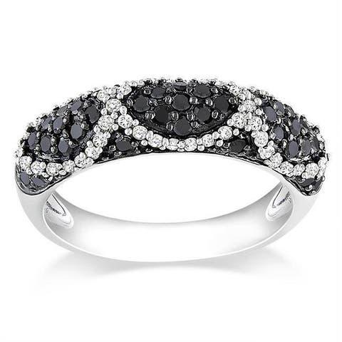 Miadora Sterling Silver 3/4ct TDW Black and White Diamond Ring
