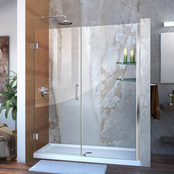 DreamLine Unidoor 57 - 61 in. Frameless Hinged Shower Door