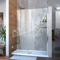 DreamLine Unidoor 58-59 in. W x 72 in. H Frameless Hinged Shower Door with Shelves, Clear Glass