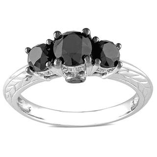 Miadora 10k White Gold 1 1/2ct TDW Black and White 3-Stone Diamond Ring