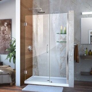 DreamLine Unidoor 46-47 in. W x 72 in. H Frameless Hinged Shower Door with Shelves, Clear Glass