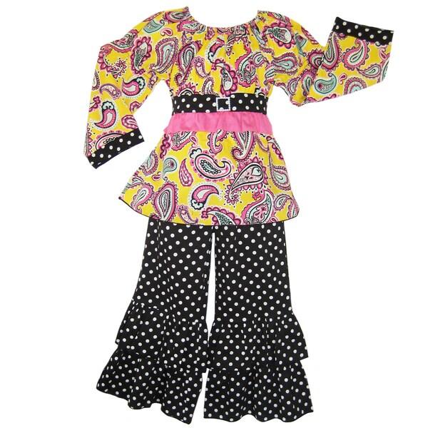 AnnLoren Boutique Girl's Paisley Top and Polka Dot Pants Set