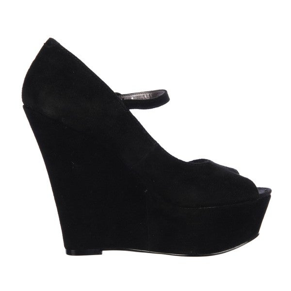 4804c1e3c16 Shop Steve Madden Women s  P-Sofiaa  Black Suede Mary Jane Wedges ...