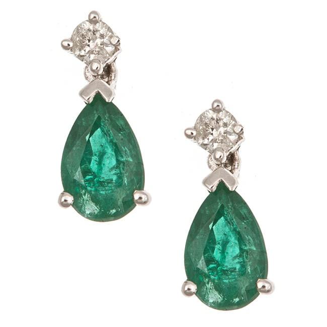 D'Yach 14k White Gold Emerald and 1/10ct TDW Diamond Earrings (G-H, I1-I2)