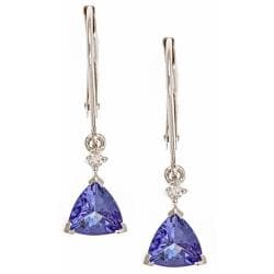Anika and August 14k White Gold Tanzanite and Diamond Accent Earrings