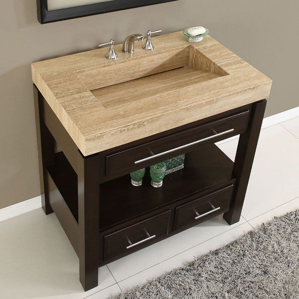 Silkroad Exclusive Travertine Top Single Stone Sink Bathroom Vanity Free Shipping Today 6023734