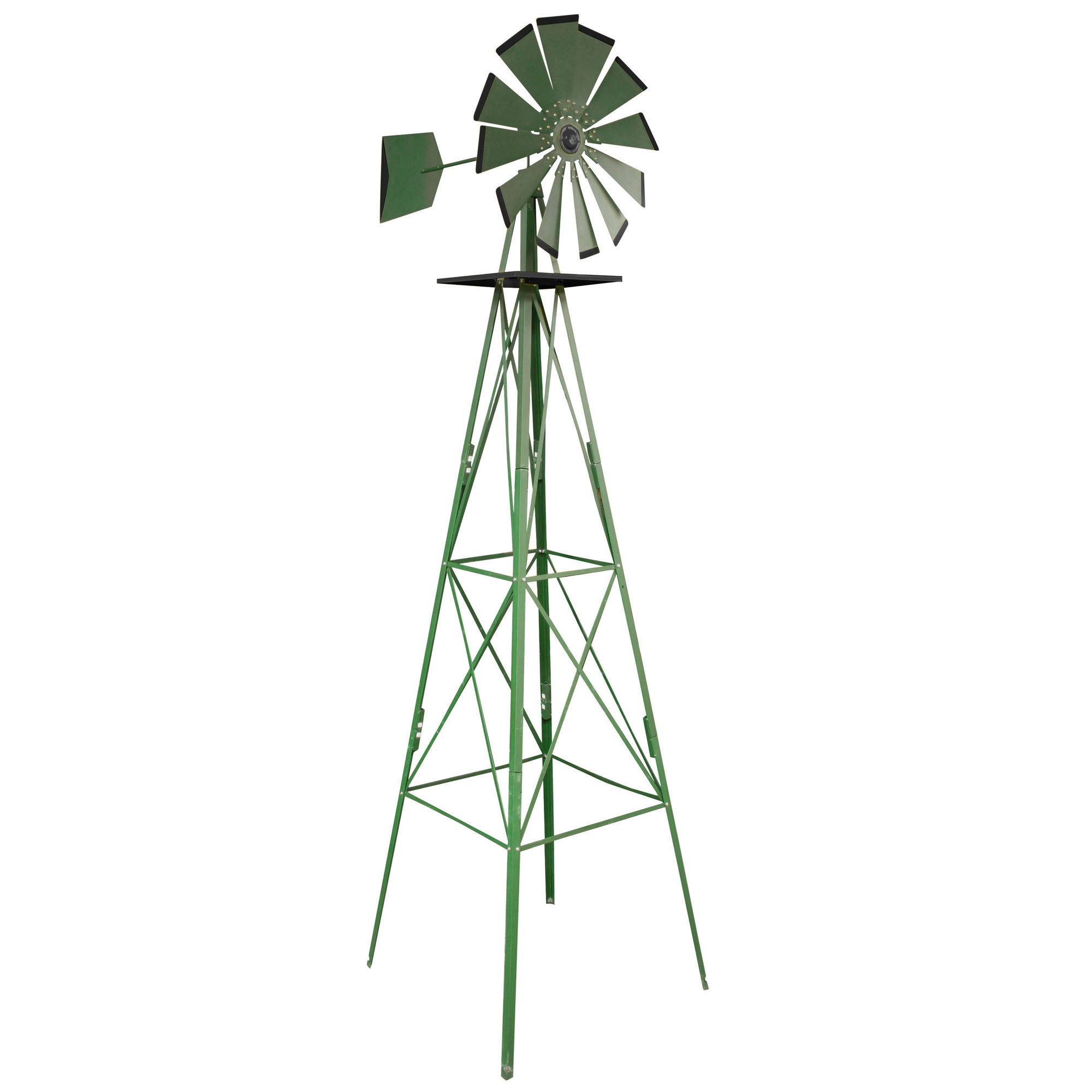 Metal Windmill 8u0027 Tower Yard Lawn Garden Ornamental Weather Vane Farm  Landscape
