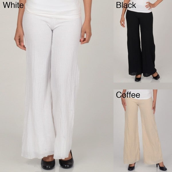 Elan Women's White Rollover Double Lined Gauze Pants - Free ...