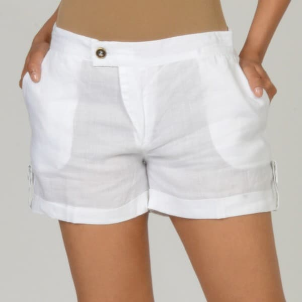 Elan Women's White Cuffed Linen Shorts - Free Shipping On Orders ...