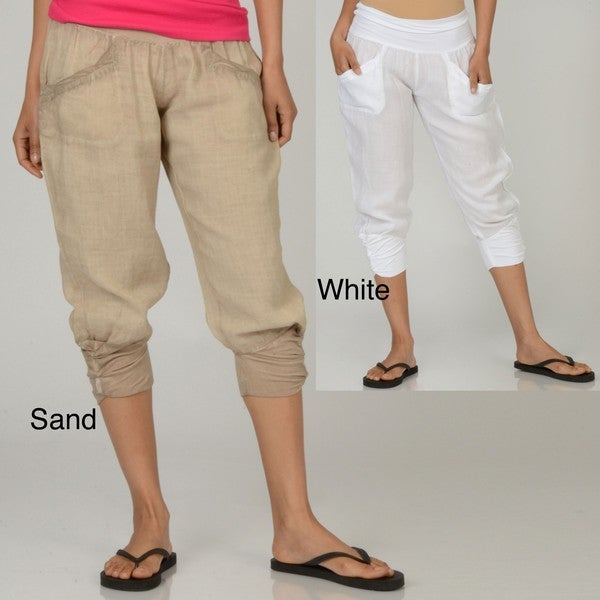 Elan Women's Linen Capri Pants - Free Shipping On Orders Over $45 ...