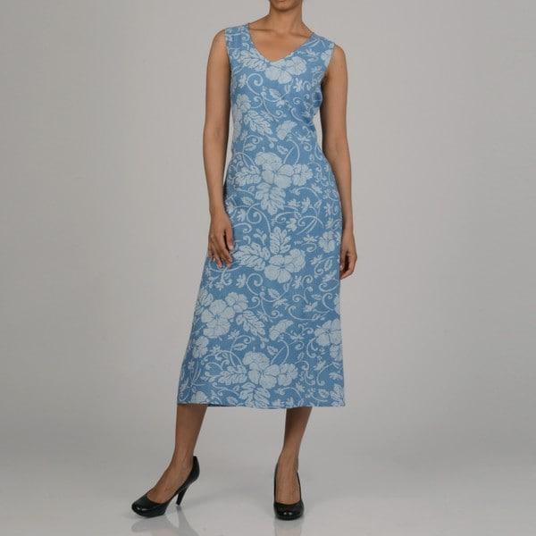 La Cera Women's Blue Sleeveless V-neck Sundress