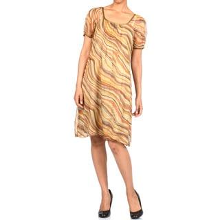 La Cera Women's Short Sleeve Pleated Chiffon Dress